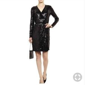 Michael Kors Black Sequin Wrap Dress